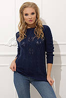 Джемпер красивой вязки темно-синий 44-48