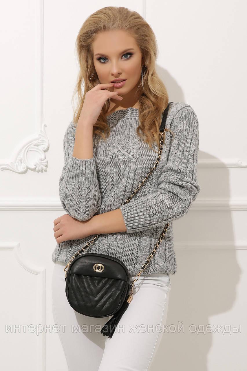 Женский свитер прямого кроя темно-серый 44-48