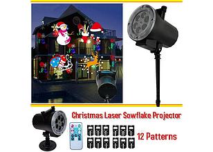 Лазерный звездный проектор Disco Star Shower с 12 слайдами