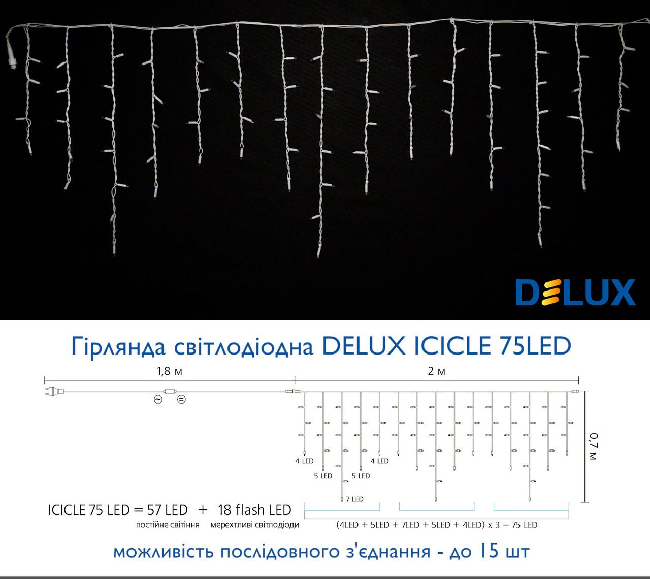 Гирлянда уличная DELUX ICICLE 75LED 2x0.7m 18 бел flash тепл.бел/бел IP44 EN