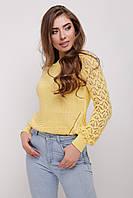 Хлопковый свитер с ажурными рукавами лимонный 44-48