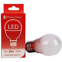 "ElectroHouse LED лампа ""шар"" E27 8W G45 4100K 720Lm"