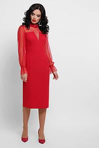Вечернее красное женское платье с рукавами из сетки