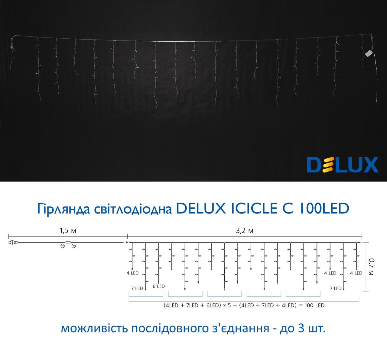 Гирлянда DELUX ICICLE С 100LED 3,2х0,7m тепл.бел/прозр IP20