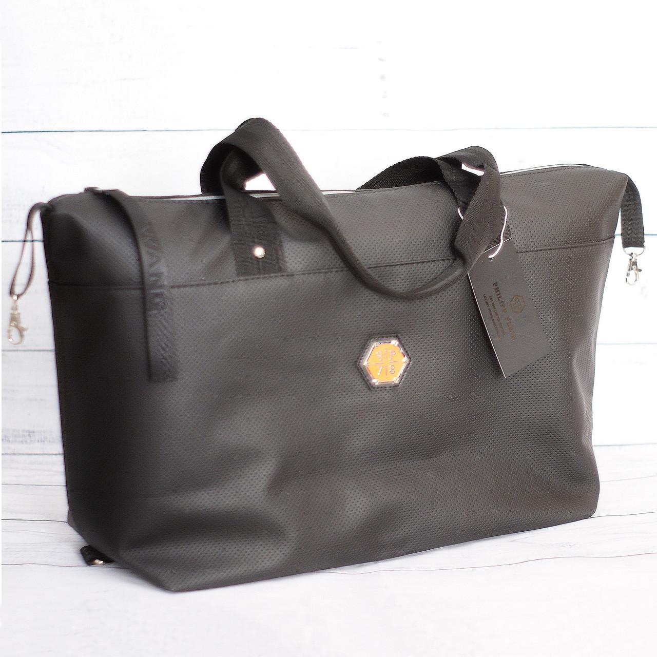 Спортивная сумка в стиле Philipp Plein (Филип Плейн), черная ( код: IBG185B )