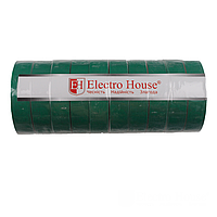 ElectroHouse Изолента зеленая 0,15мм х 18мм х 25м