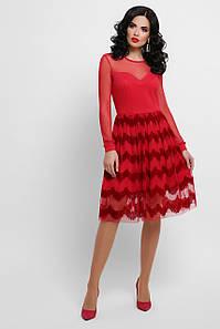 Женское красное платье с флоковым напылением