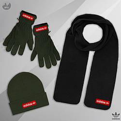 Мужской комплект шапка + шарф + перчатки Adidas черного и зеленого цвета (люкс копия)
