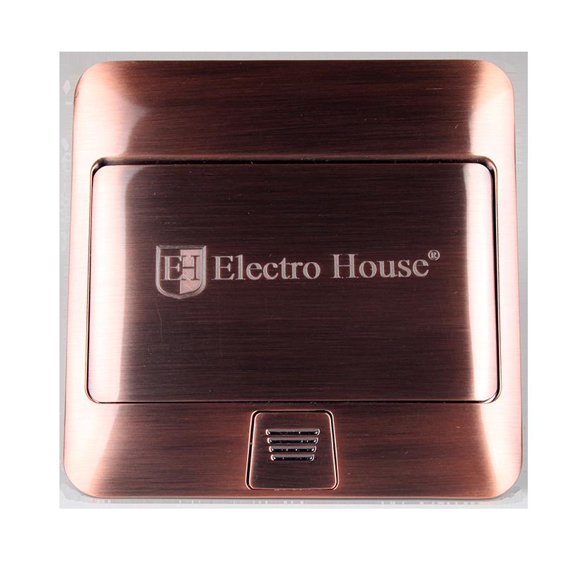 ElectroHouse Розетка врезная для пола с заземлением 1х16A, 2хUSB 2,1A IP44