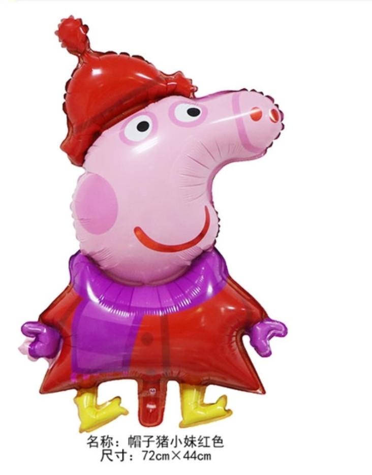 Фольгированный шар свинка пеппа в теплой одежде 72*44 см.