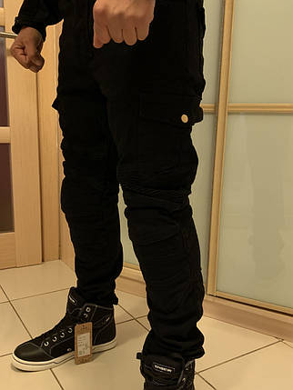 Черные Защитные Мото штаны с боковыми карманами со сьемной защитой Komine, фото 2
