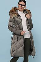 Женский молодежный зимний пуховик до колен приталенный на молнии Куртка 18-86 цвет хаки