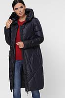 Модная женская зимняя куртка стеганая до колен 9120 темно-синяя