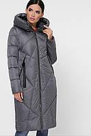 Модная женская куртка стеганая до колен наполнитель тинсулейт 9120 серая