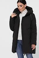 Теплая женская прямая зимняя куртка с капюшоном большие размеры Куртка М-130 черная
