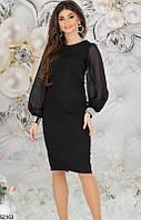 Платье женское демисезонное красивое костюмка/стразы/шифон 42,44,46 размеров,цвет черный