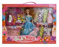 Кукла198 (731928)  с куклой мини, с набором платьев, с аксессуарами, в кор.42*6,5*33 см