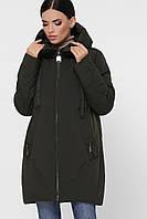 Теплая женская зимняя куртка с капюшоном большие размеры Куртка М-130 хаки