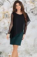 Платье женское нарядное дайвинг с напылением/шифон 42,44,46 размеров,цвет бутылочный