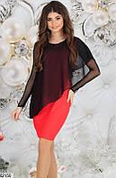 Платье женское нарядное дайвинг с напылением/шифон 42,44,46 размеров,цвет красный