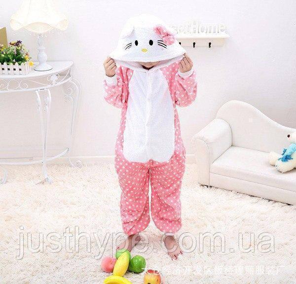 "Пижама Кигуруми детский   ""Hello Kity""  Код 10-4063"
