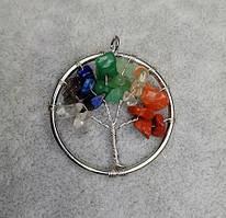 "Кулон ""Дерево счастья "" Ассорти камней d-30мм"