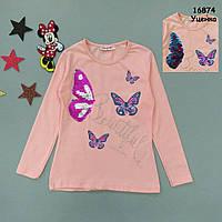 """Лонгслив """"Бабочки"""" для девочки (двусторонние пайетки). 6 лет, фото 1"""