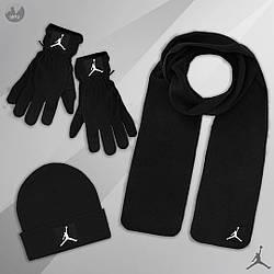 Мужской комплект шапка + шарф + перчатки Jordan черного цвета (люкс копия)