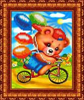 Схема на габардине для вышивки Мишка на велосипеде