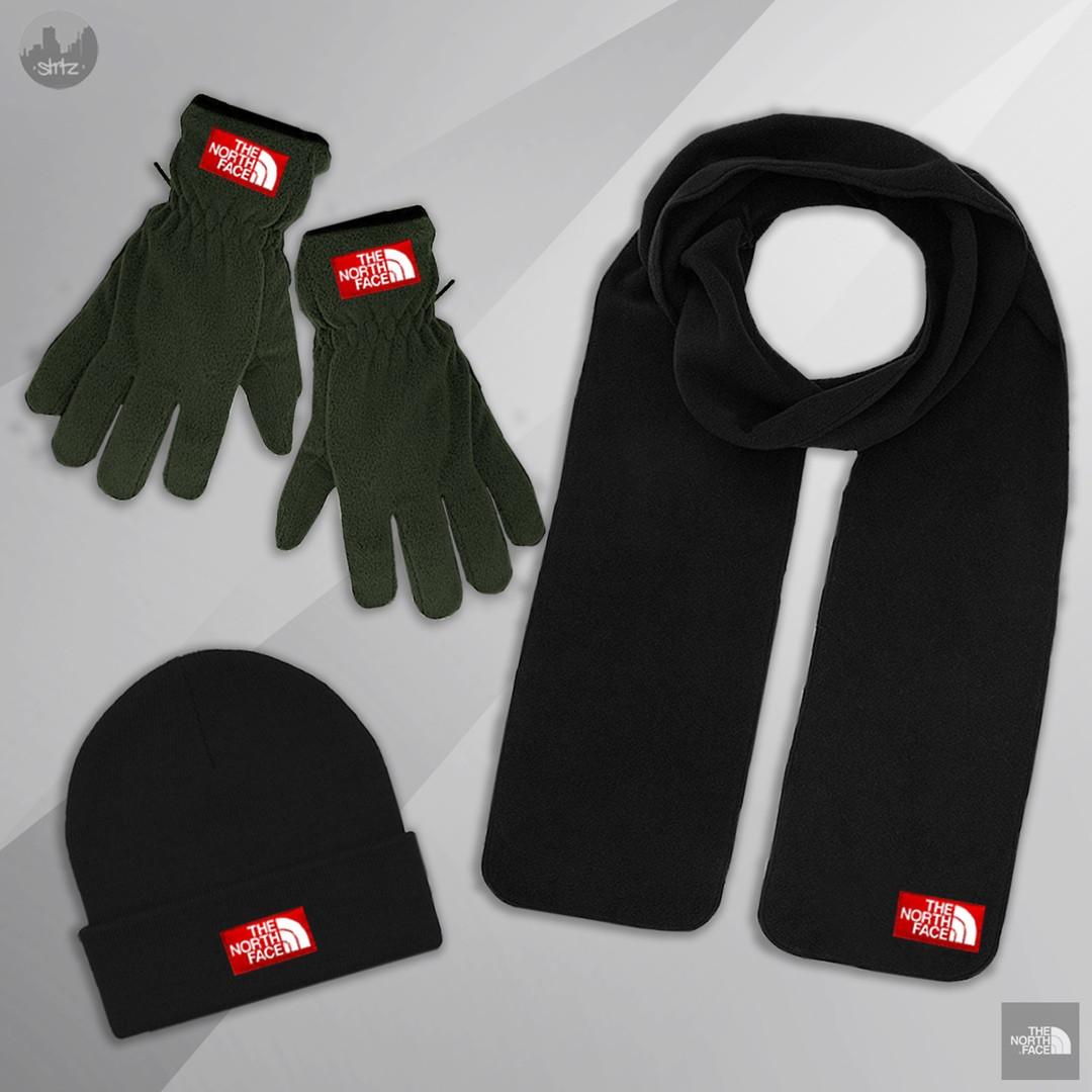 Мужской комплект шапка + шарф + перчатки The North Face черного и зеленого цвета (люкс копия)