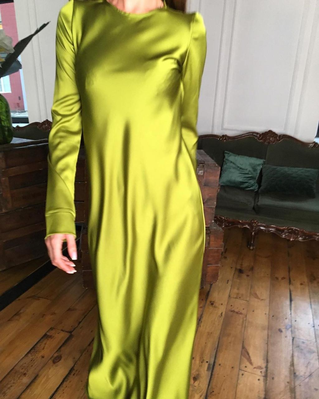 Минималистичное вечернее шелковое платье макси длинное зеленое салатовое черное айвори стальное с рукавами