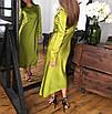 Минималистичное вечернее шелковое платье макси длинное зеленое салатовое черное айвори стальное с рукавами, фото 2