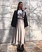 Минималистичное вечернее шелковое платье макси длинное зеленое салатовое черное айвори стальное с рукавами, фото 5