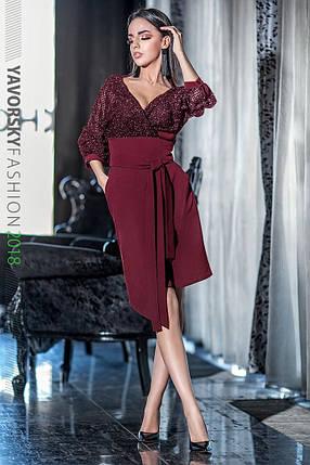 Стильное молодёжное платье с в V-образным вырезом на запах с 42 по 48 размер, фото 2