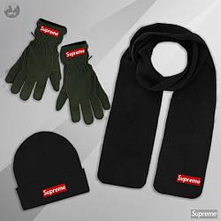 Мужской комплект шапка + шарф + перчатки Supreme черного и зеленого цвета (люкс копия)