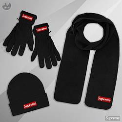 Мужской комплект шапка + шарф + перчатки Supreme черного цвета (люкс копия)