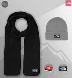 Мужской комплект шапка + шарф The North Face черного и серого цвета (люкс копия)