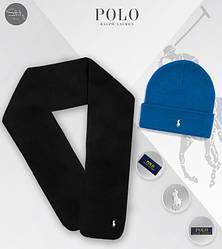 Мужской комплект шапка + шарф Ralph Lauren черного и синего цвета (люкс копия)