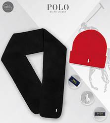 Мужской комплект шапка + шарф Ralph Lauren черного и красного цвета (люкс копия)