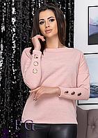 Женская кофта свободного ровного силуэта, имеет длинные рукава, фото 1
