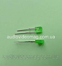 Светодиод 3V прямоугольный 2 х 3.4 мм, диффузный, цвет зеленый