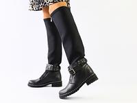 Женские демисезонные черные сапоги, кожа и обувной стрейч