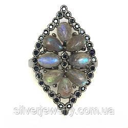 Серебряное кольцо с ЛАБРАДОРОМ (натуральный), серебро 925 пр. Размер 17,5