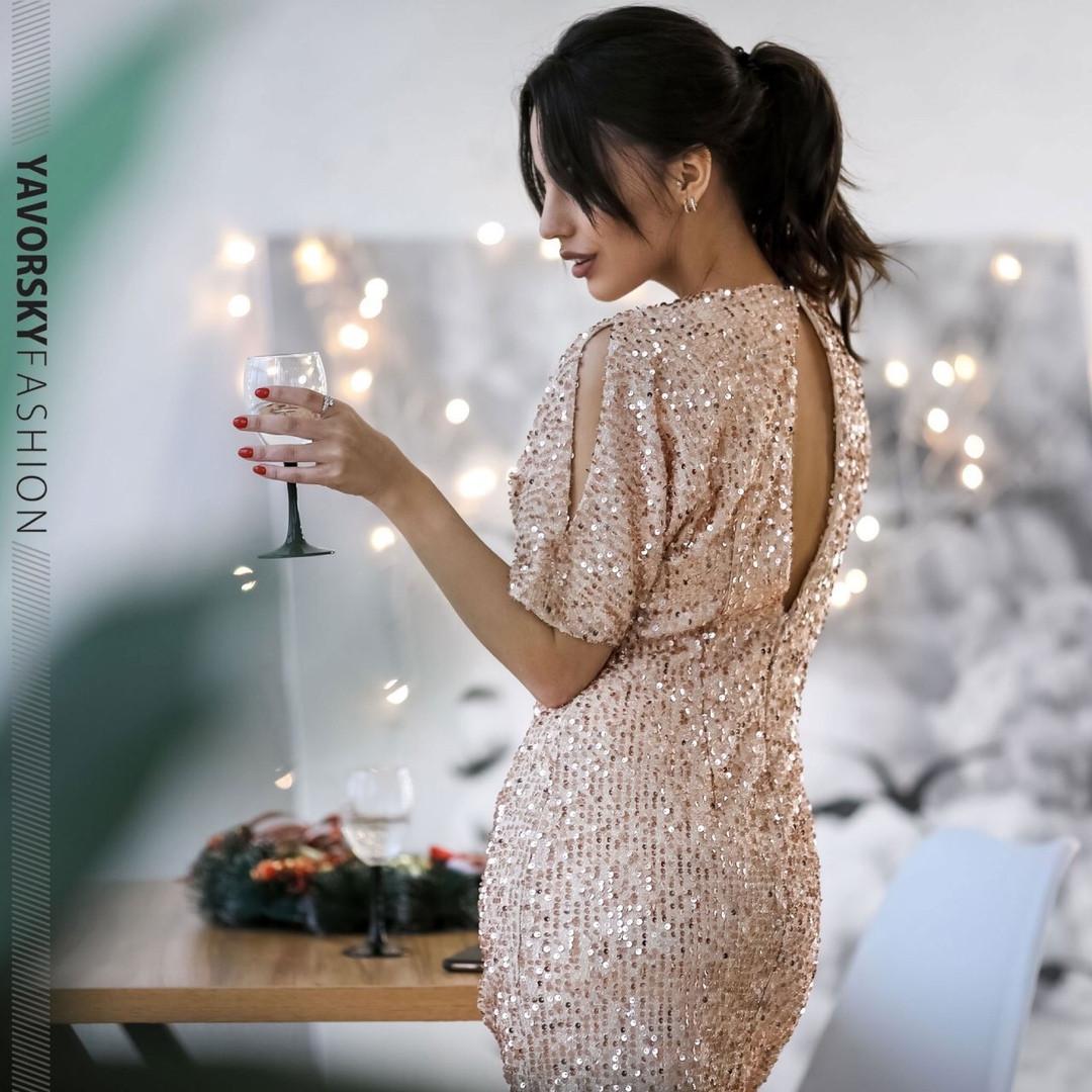 Элегантное вечернее молодёжное мини- платье расшитое пайетками S, M, L. размер