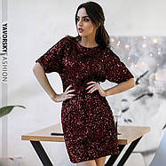 Элегантное вечернее молодёжное мини- платье расшитое пайетками S, M, L. размер, фото 3