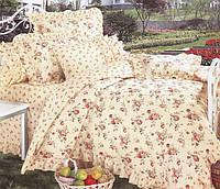 Комплект постільної білизни в 10-и кольорах і 5-и розмірах. Беж/квіти.