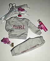 """Трикотажний костюм для дівчинки-( штани і світшот) з принтом """"GIRL"""" сірий"""