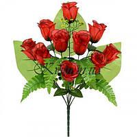 Букет односторонний розы с папоротником, 53см
