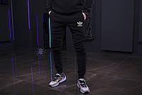 Зимние мужские спортивные штаны, мужские штаны на флисе, зимові чоловічі штани Adidas, Реплика
