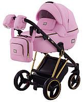 Дитяча коляска 2 в 1 Adamex MIMI Polar (Gold) CR328 рожева шкіра 100%, фото 1